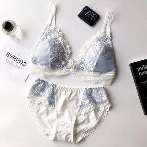 Image 4 - Küçük pamuk bardak intimates kızlar için nakış ince sütyen ped ile kadınlar seksi dantel iç çamaşırı iç çamaşırı tel daha az yeni Sütyen seti