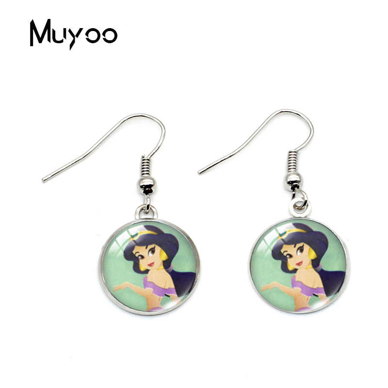 New Cute Sweet Princess Jasmin Bell Ariel Princess Glass Dome Fish Hook Earrings Cinderella Aurora Princess Dangle Earrings