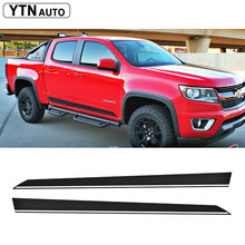free shipping 2PC side and tail stripe graphic Vinyl sticker for Colorado double cab 2015