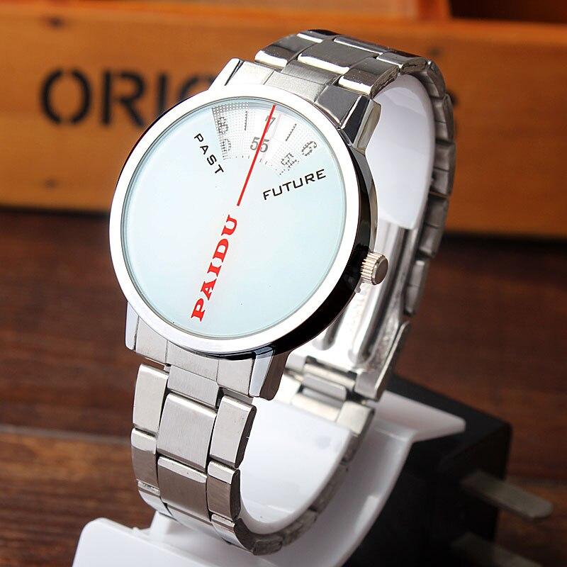 Paidu Simple Design White Quartz Stainless Steel Band Wrist Watch Mens Boy Digital Turntable Dial Digital Gift Wristwatches