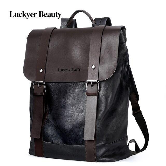 0ef2e196f5 LUCKYER BEAUTY Korean Style Fashion Men s Backpack Luxury Brand Male Laptop  Bags High Quality Split Leather Vintage School Bag