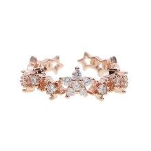 Новинка, модные белые кольца с ромашками из кубического циркония для женщин, медные обручальные ювелирные изделия для влюбленных, подарки для мам, 3 изысканные Открытые Кольца со звездами