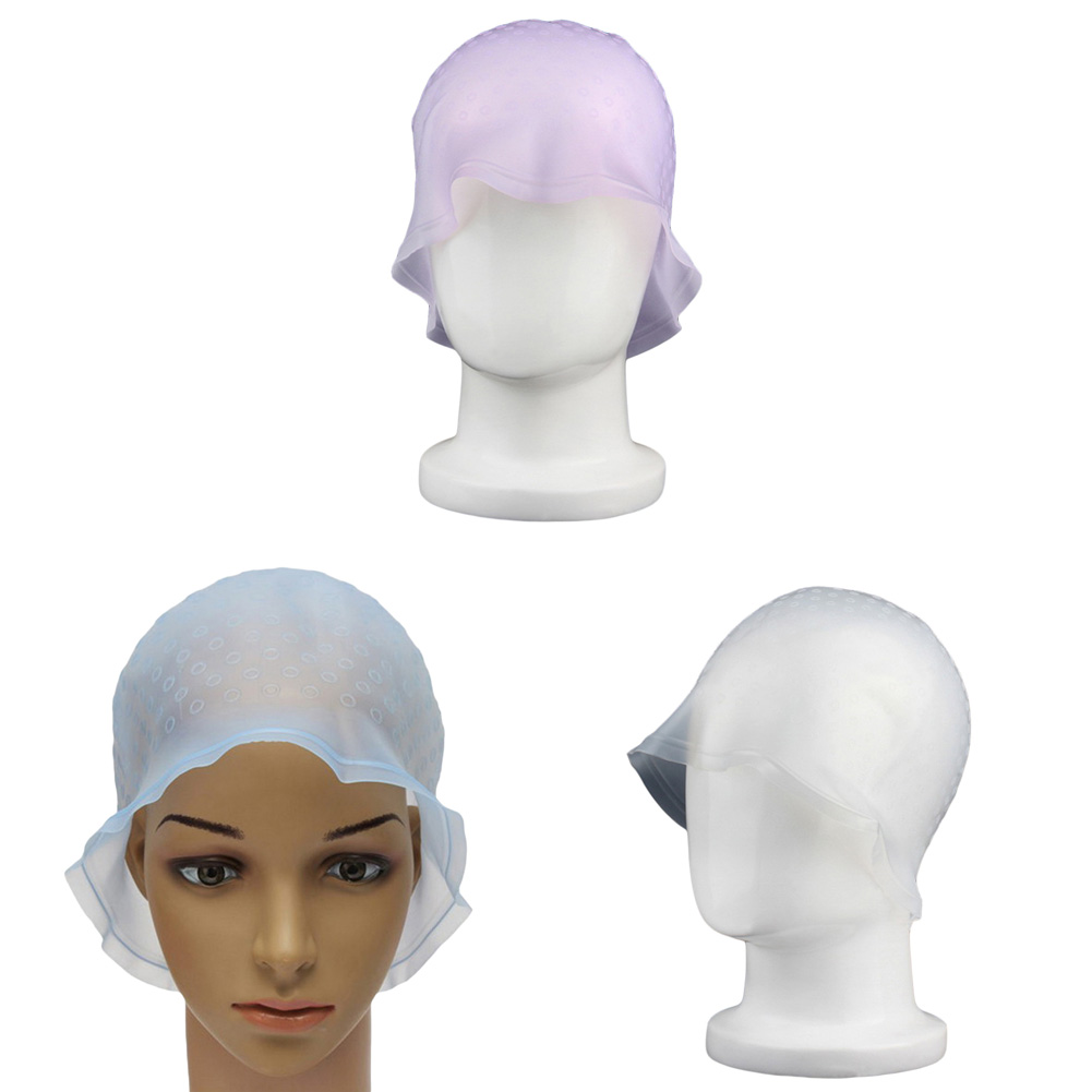 1Pc Professional Dye Cap Silicone Dyed Hooded Baked Oat Hooded Hooded Crochet Cap - White Hat + Crochet