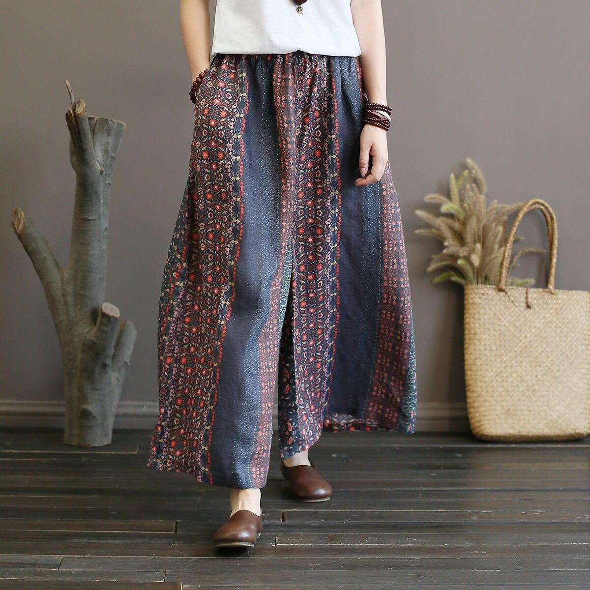 Vintage Print Hit Color Elastic Mid Waist Loose Women Pants New Pockets Autumn Ramie Full Length Wide Leg Pants