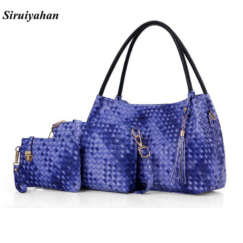 Siruiyahan Fashion Brand Luxury Handbags Women Bags Designer Leather Female Bag Knitting PU Handbags Messenger Shoulder Totes цена