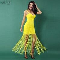 Adyce New Yellow Black Bandage Dress 2018 Sexy Celebrity Evening Party  Dresses Women Tassels Fringe Dress ba8c5df71412