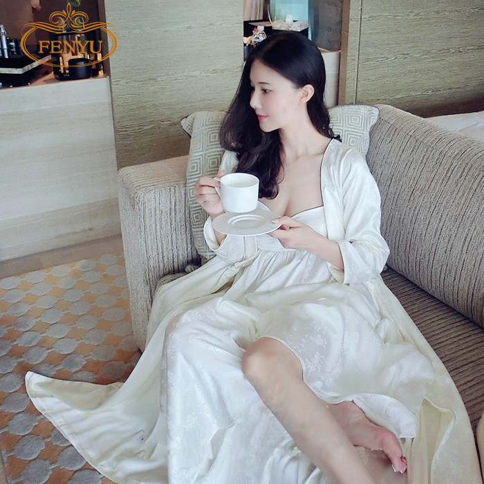 Free Shipping Women s Long Robe Royal Beige Sleepwear Embroidery Silk Satin  Nightgown Two Pieces Set-in Robe   Gown Sets from Underwear   Sleepwears on  ... acf5bae29f