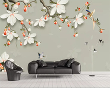 Beibehang Custom mural modern 3D large wallpaper flowers and birds jewelry magnolia living room sofa