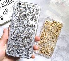 Novo Luxo Glitter Folha De Alumínio Claro Pele Fundas Capa de Telefone TPU Macio casos capa para iphone 5 5g 5S 6 6g 6 s 4.7 6 plus