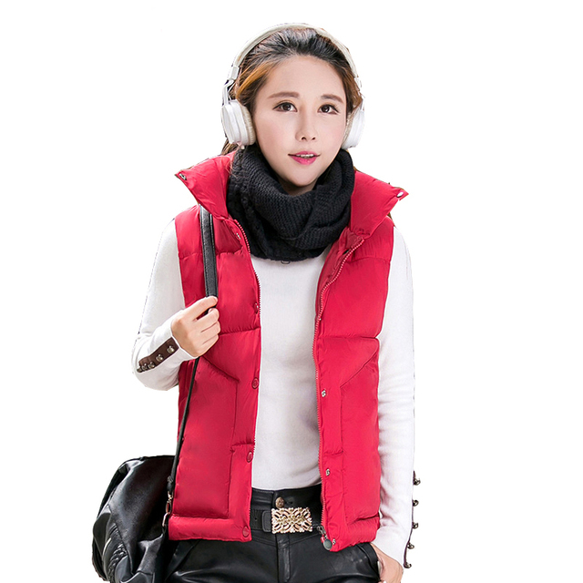 2016 Winter Women Vest Coat High Collar Slim Jacket Casual Lady Waistcoat Women Outwear Fashion Down Cotton Warm Vest Female