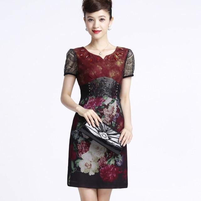 new fashion 2013 Lace diamond print  female slim short-sleeve women's silk dress plus size 0258001309