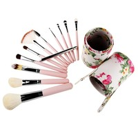 Travel Cosmetic Brushes Makeup Artist Bag Brushes Organizer Cosmetic Makeup Brush Set Kit With Rose Flower