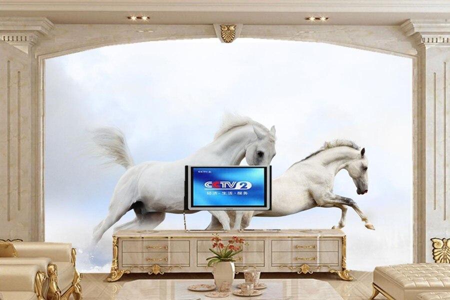 Papier peint 3d mural, deux chevaux blancs animaux photo 3d papier peint, salle à manger salon tv canapé mur chambre papel de parede