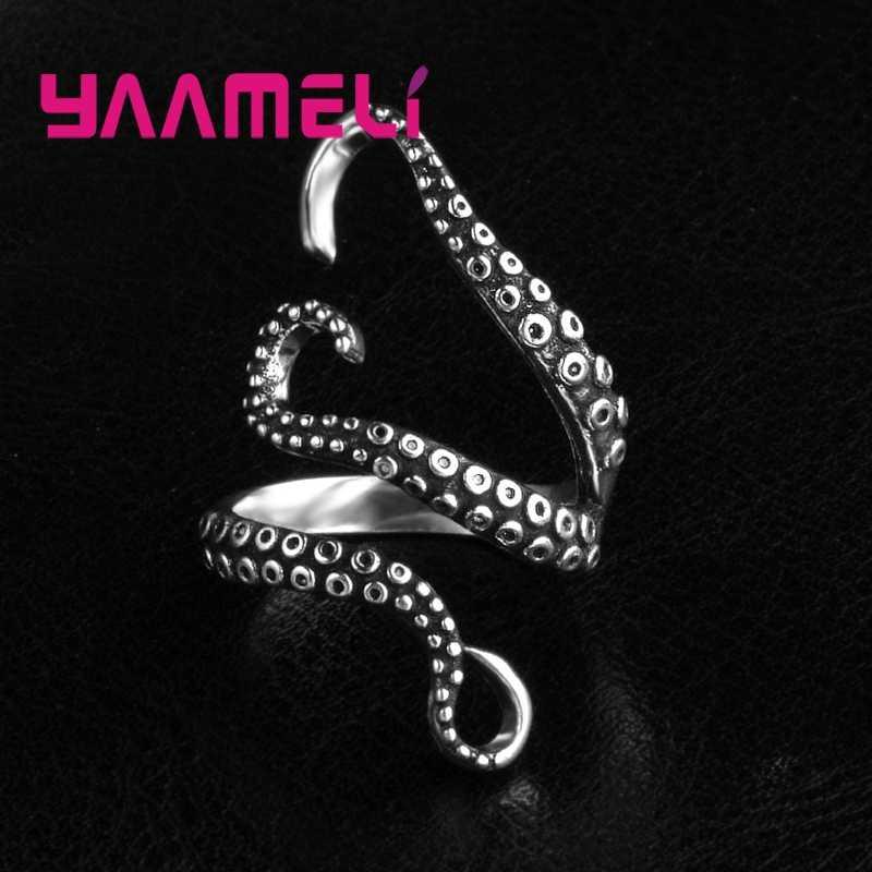 Estilo Punk de alta Qualidade 925 Jóias de Prata Esterlina Anéis Para Mulheres Homens Partido Legal Polvo Acessórios Dedo 2 Cores