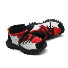 niños y niñas botines antideslizantes en zapatos de moda suela flexible cuero genuino chaussure zapatos niños botas zapatos de tobillo flyknit