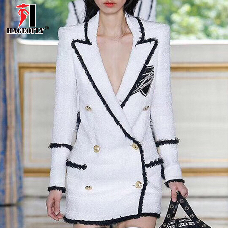 High Quality White Blazer Women Long Sleeve Rhinestone Badge Gold Double-breasted Sequins Tweed Designer Blazers Female Winter