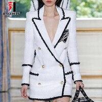 High Quality White Blazer Women Long Sleeve Rhinestone Badge Gold Double breasted Sequins Tweed Designer Blazers Female Winter