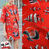 Red Color Fish Printed Jacquard Fabric Women Coat Dress Polyester Tissue Autumn Wear Suits DIY Clothing