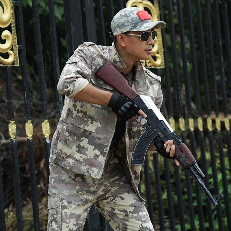 En plein air hommes coton militaire Combat uniformes sport randonnée ensembles chasse Camouflage Ghillie costume armée tactique formation uniformes