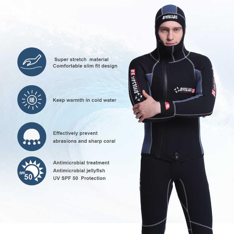 Мужской купальный костюм с капюшоном из 2 предметов на молнии, Раздельный костюм для подводного плавания, двойной теплый профессиональный костюм 5 мм для подводного плавания из неопрена