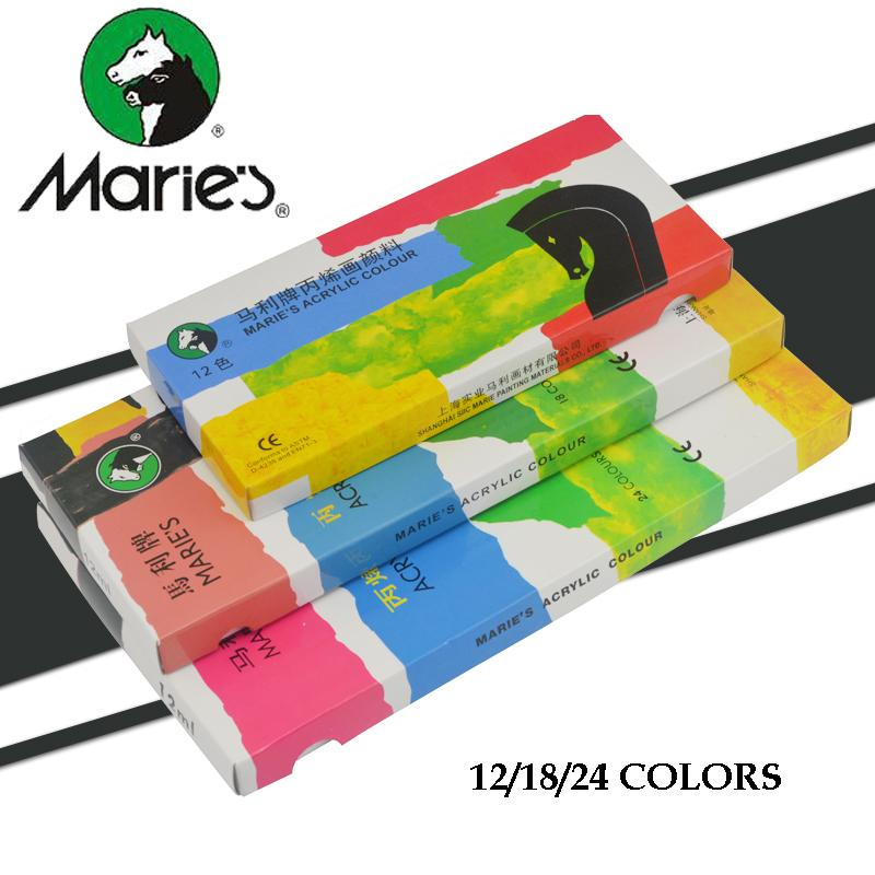 цена на Marie's 12/18/24 colors Acrylic Paints 12ml/tube Non-toxic art painting supplies