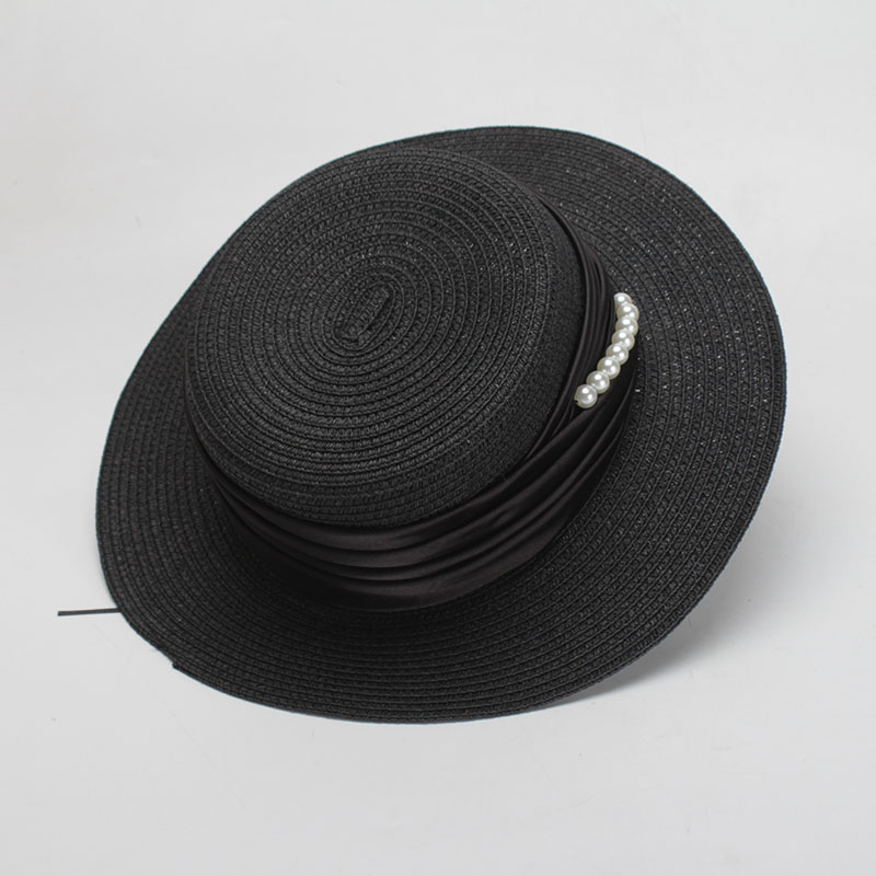 ROSELUOSI Women Elegant Sun Hats 2018 Brand New Straw Boater Hat Flat Top  Summer Beach Hats For Vacation Chapeau Femme-in Sun Hats from Apparel  Accessories ... 28ad77a39010