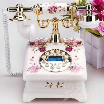 wholesale young girl Arts Crafts Ceramic antique telephone fashion callerid rustic vintage fashion
