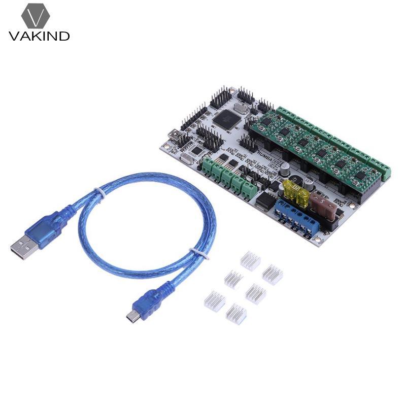 купить VAKIND 3D Printer Parts Main Control Board Kit Rumba Plus Motherboard with 6pcs A4988 Stepping Drivers Data Cable Heatsink недорого