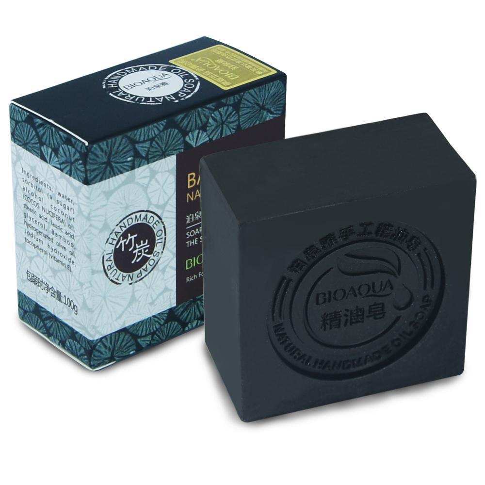 Бамбуковый уголь мыло ручной работы уход за кожей натуральной кожи, отбеливание мыло глубокое очищение масло-контроль лицом уход за волосами Для ванной