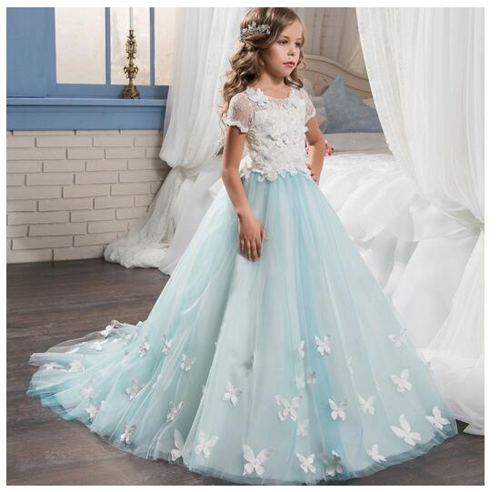 Girls Formal Dress 2017 Flower Girls Princess Dresses Kids Lace Floor Length Butterfly Party Ball Gown Children's Wedding Dress new flower girls party dress embroidered formal bridesmaid wedding girl christmas princess ball gown kids vestido