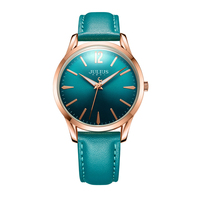 Genuine Women's Fashion Simple Leather Quartz Round Colorful Watch Women Unique Winding Hand Wristwatch Julius Clock Best Gift