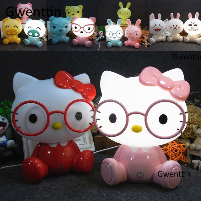 Modern Cartoon Led USB Night Lights Animal Hello Kitty Bear Pig Rabbit Lamps for Children Baby Kids Bedroom Lamp Christmas Decor
