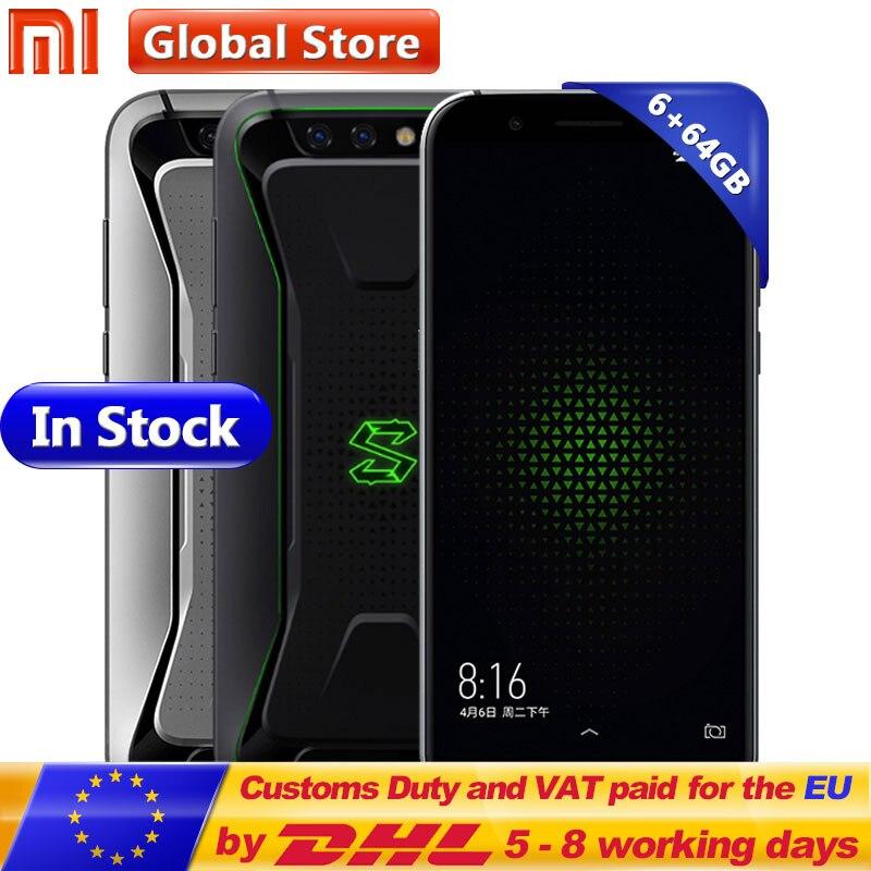 Оригинальный Xiaomi Черная Акула игровой мобильный телефон 6 ГБ 64 ГБ Snapdragon 845 Octa Core 18:9 полный Экран 5,99 двойной 20.0MP 4000 мАч