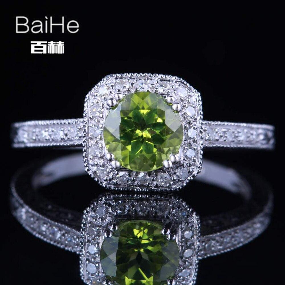 BAIHE solide 14 K or blanc (AU585) 0.84CT certifié vert/impeccable rond véritable péridot mariage femmes anneau à la mode