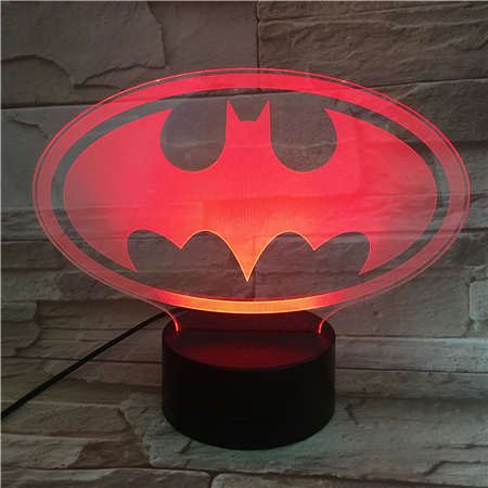Usb 3d Led Night Light Dc Justice League batman logo Cartoon Superhero Boys Child Kids Birthday Gifts Table Lamp Bedside in LED Night Lights from Lights Lighting