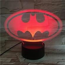Usb 3d Led Night Light Dc Justice League batman logo Cartoon Superhero Boys Child Kids Birthday Gifts Table Lamp Bedside