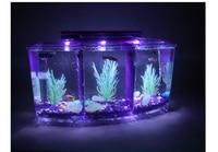 Acrylic Multi partition Mini LED Fish Tank For Fry Hatching Bucket LED Small Aquarium Crystal Shrimp Three grid Bucket Box