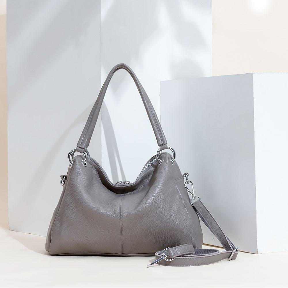Fashion Hobos 100% Genuine Leather Soft Skin Women Shoulder Bag Classic Black Elegant Lady Crossbody Purse Tote Handbag
