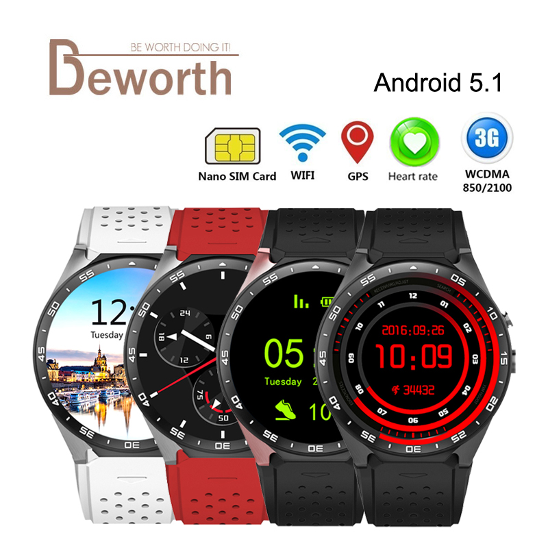 Original KW88 Android 5.1 3G Smart Watch Phone 512M 4GB Heart Rate MTK6580 2.0M Camera 1.39'' Smartwatch GPS Wifi Nano SIM WCDMA celiadwn smart watch android 5 1 smartwatch phone 3g mtk6580 512mb 4gb with 2 0 camera wifi gps sim card clock vs x200 dm98
