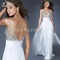 Azul Royal vestido de baile até o chão da sereia backless rhinestone prom vestidos de festa vestido longo