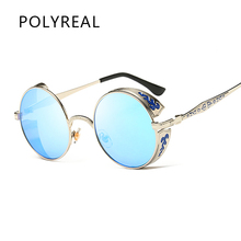2e72af050e Polyreal moda Chola redondo Gafas de sol mujeres hombres retro metal  Tallados círculo espejo Sol Gafas hombre mujer Steampunk es.