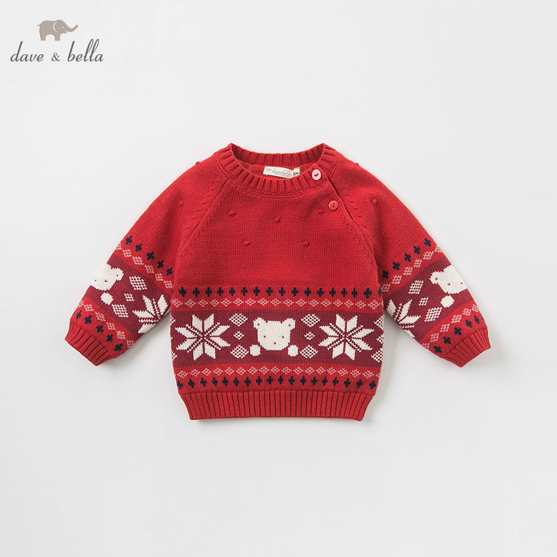 DBZ8399 dave bella baby boys Christmas sweater children print knitted sweater kids autumn pullover toddler boutique tops rabbit print pullover