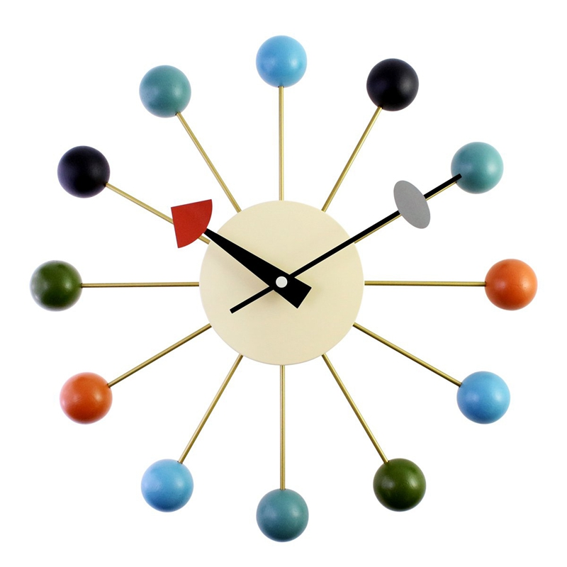 New Simple Colorful Ball Modern Clock Art Simulation Sport Decorative Candy Wall Clock Mixed Color Metal + Solid Wood Ball