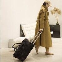 BeaSumore waterproof Rolling Luggage Spinner PU Leather password Cabin Wheels Suitcase Travel Bag Women Multifunction Trolley