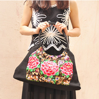 Ethnic Handmade Textile Cloth Embroidered Handbags Vintage Women Shoulder Bags Large Shopping Bags Travel Bags Cross