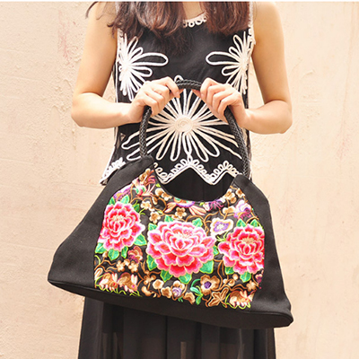 Ethnic handmade textile cloth Embroidered handbags Vintage women Shoulder bags large shopping bags Travel bags cross body bag original ethnic embroidered women handbag vintage handmade tassel shoulder bags black canvas casual large bags