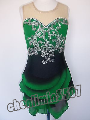 e04ae5de041f1 US $499.0 |Dark Green Ice Skating Dress Competiton Figure Skating Clothing  For Girls High Quality Ice Skating Dress Girls Free Shipping-in Ballet from  ...