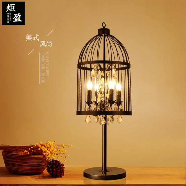 American Country Table Lamp Crystal Iron Cage Living Room Bedroom