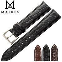 MAIKES 14mm 24mm HQ Genuine Alligator Leather Strap Watch Band Black Accessories Men Watchbands Bracelet For