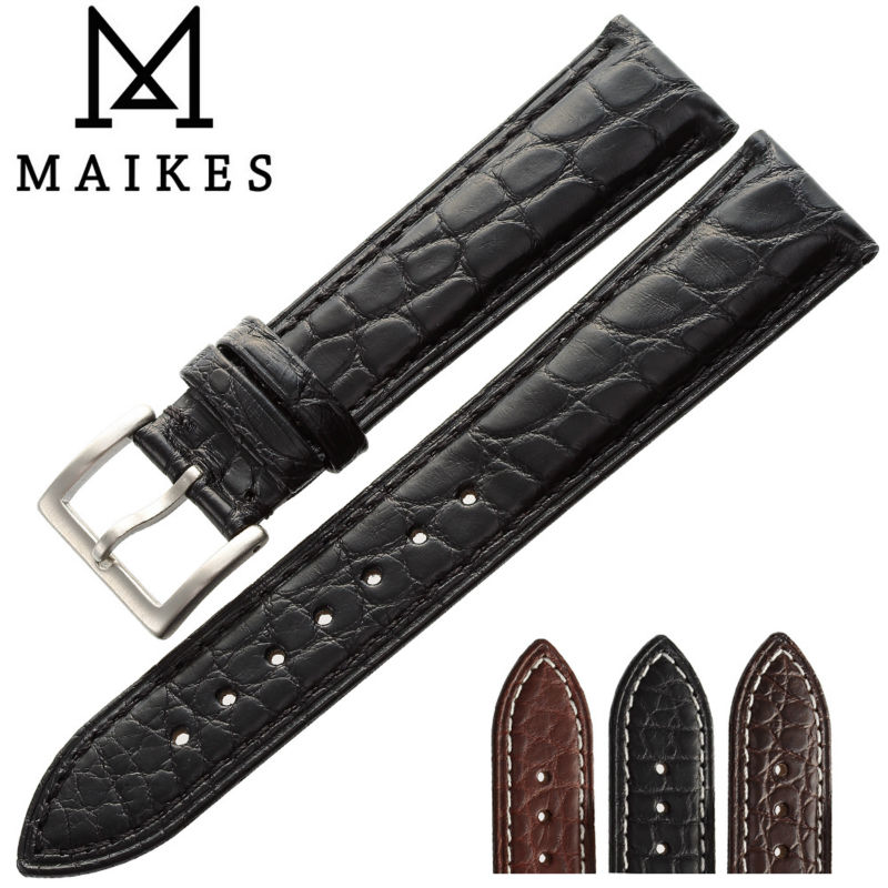 MAIKES 14mm-24mm HQ Genuine Alligator Leather Strap Watch Band Black Accessories Men Watchbands Bracelet For Longines maikes hq 16 18 20 22 24 mm genuine alligator leather strap watch band brown with pin buckle men watchbands bracelet accessories